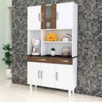 Armário para Cozinha 6 Portas 2 Gavetas Estilo Kaiki Móveis Branco/Ipê