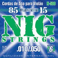 Cordas de Aço para Violão Nig Strings 010-050 Linha Bronze 85-15
