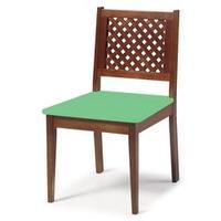 Cadeira para Sala de Jantar ou Home Office Imperial Xadrez Treliçada Marrom e Verde Anis