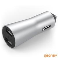 Kit Veicular para Apple com Cabo Lightning Suporte Magnético e Carregador Veicular Geonav Prata e Cinza
