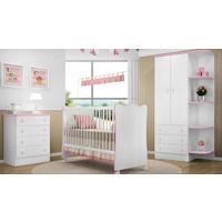 Quarto De Bebê Completo Doce Sonho Branco Rosa Lojix Qmovi