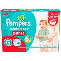 Fraldas Pampers Pants Confort Sec Tamanho G 34 Unidades