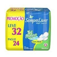 Absorvente Sempre Livre Tri Protect Normal Suave Com Abas Leve 32 Pague 24