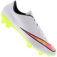 Chuteira de Campo Nike Mercurial Veloce II FG Masculina Branca e Verde Claro 5735b9985d99e