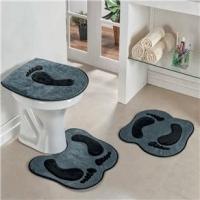Jogo De Banheiro Formato Pegada Cinza