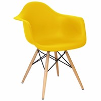 Cadeira Eiffel Polipropileno Amarela Base Madeira