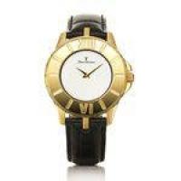 Relógio Jean Vernier Caixa Aço Pulseira Couro Vidro Cristal Preto+Dourado