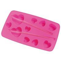 Forma para Gelo Mor Formato de Coração Silicone Rosa 3 Peças