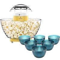 Pipoqueira Easy Pop Fun Kitchen 220V + Conjunto 6 Bowls La Cuisine Bico de Jaca 600ml Capri Azul Escuro