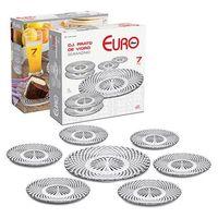 Conjunto Prato Bolo de Vidro Euro Home  Diamon 7 Peças