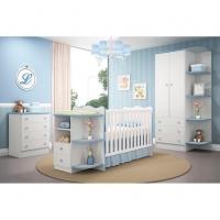 Berço Com Prateleiras Com Cômoda e Roupeiro Prateleiras Quarto Infantil Branco Azul - Qmovi