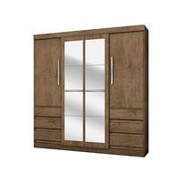 Guarda roupa Casal 4 Portas 6 Gavetas Araplac Linea Com Espelho