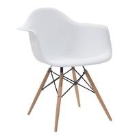Cadeira Eiffel Polipropileno Branca Base Madeira