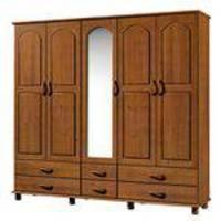 Guarda-roupa Casal Com Espelho Esmeralda 5pt 6gv 1415t Imbuia