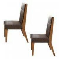 Conjunto 2 Cadeiras Saara Móveis Lopas Rovere Naturale/Velvet Chocolate