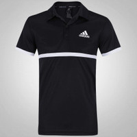 Camisa Polo Adidas Court Preto e Branco