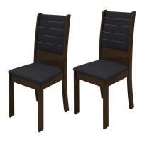 Kit de Cadeiras Madesa Turim Imbuia e Preto 2 Peças