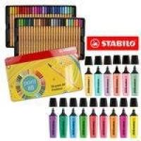 Kit Stabilo Lettering Marca Texto Caneta Neon Pastel 65 Pcs