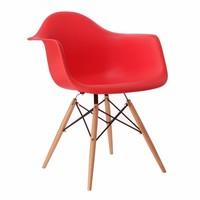 Cadeira Eiffel Polipropileno Vermelha Base Madeira
