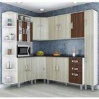 Cozinha Compacta Modulada 7 Peças Branco Rovere Amêndoa Poliman