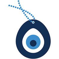 Adesivo Decorativo de Parede Stixx Zen Olho Grego Azul Escuro Azul Claro e Branco