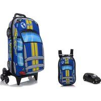Kit Mochila De Rodinhas + Mochila Max Toy Fiat Uno Sport P Azul