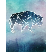 Notebook: Geometric Buffalo Silhouette Watercolor College Ruled Line Paper 8.5x11 Composition Note Book 100 Sheets (200 Pages)