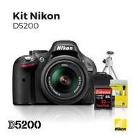 Câmera Digital Nikon SLR D5200 24.1 Megapixels + Lente 18-55mm + Cartão Memória 32GB C10 + Bolsa + Tripé + Kit Limpeza