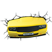 Luminária 3D Light FX  de Parede Muscle Car Amarelo