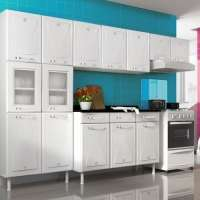 Cozinha Compacta Telasul Star Aço 02 Com Balcão Pia Star 14 Portas E 3 Gavetas Com Tampo Branco