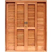 Porta de Correr Veneziana Madeira 6 Folhas Isabela Revestimentos 2,15mx1,60mx15cm Marrom Claro
