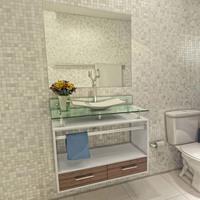 Gabinete para Banheiro VTEC Pollux com Cuba e Espelho Branco e Marrom 62x84x46cm