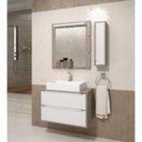Gabinete Para Banheiro Suspenso Com Espelheira Nicho E Cuba Balcony Ravena 80cm Branco Supremo/Conne