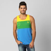 Camiseta Regata Puma Brasil 70 Masculina Azul e Verde  3a3c88655ff
