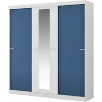 Guarda Roupa Móveis Carraro 3 Portas Espelho Allegro Branco e Azul