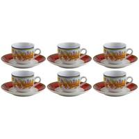 Conjunto de Café Porcelana Wolff Super White Beaza Colorido 6 Peças