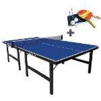 Mesa De Ping Pong 18 Mm Klopf Com Rodízio Articulado Azul + Kit De Raquetes, Bolinhas E Rede