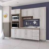 Cozinha Compacta sem Tampo 2 Nichos 4 Peças Nora Indekes Nogal/Salina