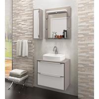 Gabinete para Banheiro Suspenso com Espelheira Nicho e Cuba Balcony Ravena 60cm Supremo/Connect