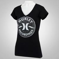 f7629596f8a12 Camiseta Hurley Recordings Feminina Preta