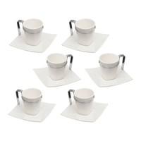 Jogo de Xícaras Para Café Bon Gourmet Spril Porcelana 6 Peças
