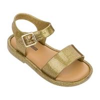 Mini Melissa Mar Sandal IV (Transparente Glitter Dourada)