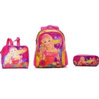 Kit 3 Em 1 Sestini Com Mochila Barbie e O Portal Secreto Rosa e Dourado G