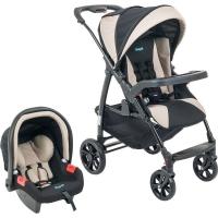 Carrinho de Bebê Burigotto Módulo + Bebê Conforto Touring Evolution Punto Bege