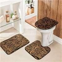 Jogo De Banheiro Safari 3 Peças Tigre Marrom