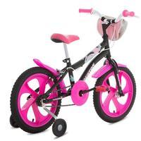 Bicicleta Infantil Houston Tina Aro 16 Pink e Preta + Bolsa Preta