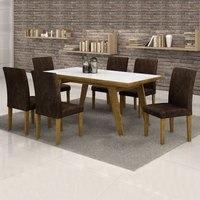 Conjunto Sala de Jantar Mesa Esmeralda Tampo Vidro Branco 6 Cadeiras Classic Cel Móveis Ypê/ Suede Pena 83