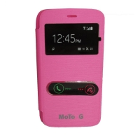Capa Flip Cover S-View Motorola Moto G XT1032 XT1033 + Pelicula Rosa