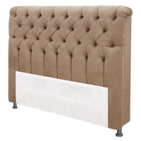 Cabeceira Casal Simbal Imperatriz Suede Bege 140cm