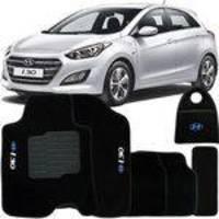 Jogo Tapete Automotivo Carpete + Lixeira Hyundai I30 2013 à 2017 Soft Logo Bordado Preto 6 Peças